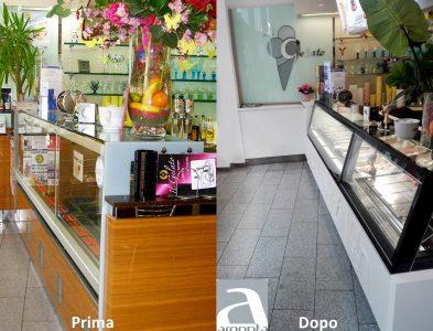 prima e dopo restyling di una gelateria